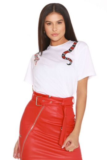 LA Sisters Snake Tee White Front