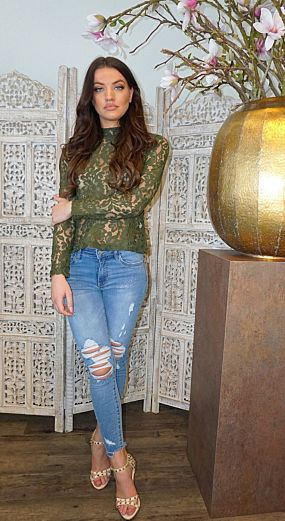 Lace Flower Top Army
