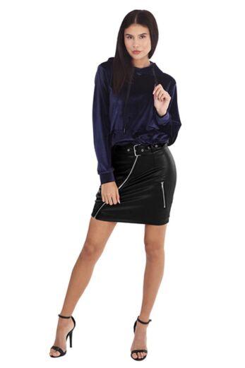 LA Sisters Leather Belted Mini Skirt Black