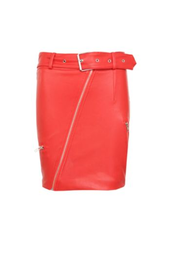 Leather Belted Mini Skirt Red