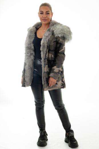 Parka Fur Camo Grey