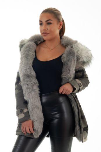 Eve Parka Fur Camo Grey Close Up Front
