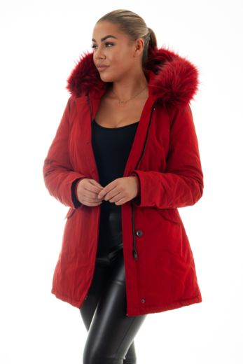 Eve Parka Ruby Red Close Up Front