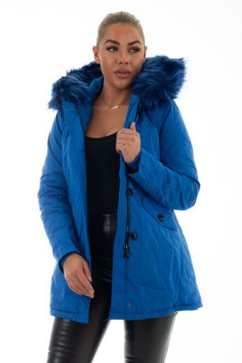 Eve Parka Kobalt Blue Close Up Front
