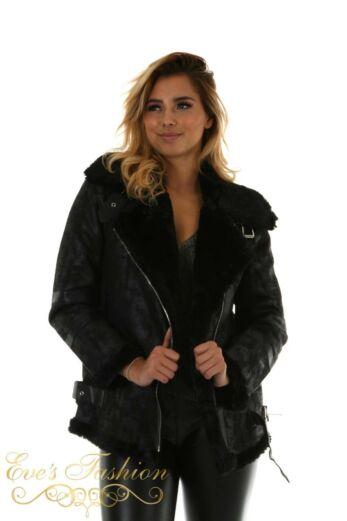 Eve Micah Lammy Coat Black Close