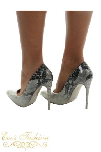Sparkle Snake Metallic Heels Silver