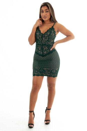 Eve Katy Lace Dress Green Front