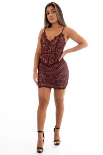 Eve Katy Lace Dress Bordeaux Front