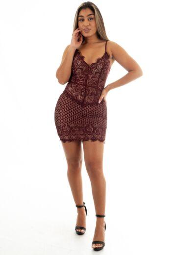 Katy Lace Dress Bordeaux