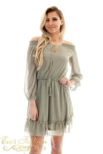 Jacky Luxury Summer Offshouler Tunic Light Army Close