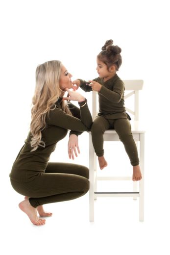 Kids V-Neck Sweater Army Green