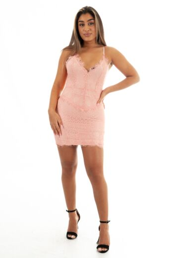 Eve Katy Lace Dress Pink Front