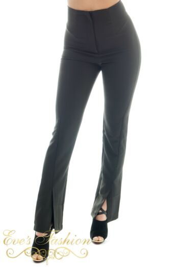 Eve Exclusive Cassandra High Waist Trousers Black Frt