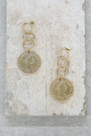 Coin Stopper Earrings in Gold