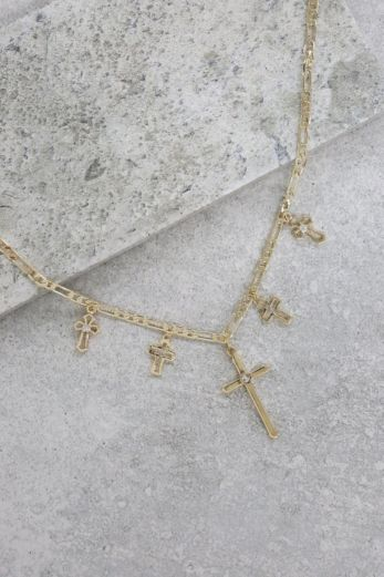 Multi Cross Necklace Gold