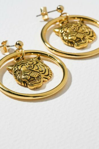 Vanessa Mooney Mini Tiger Earrings Gold Close Up