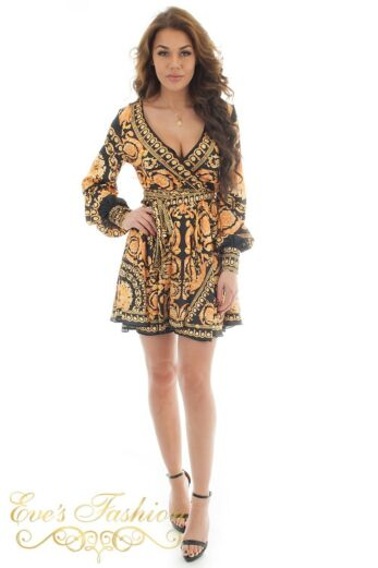 Eve Exclusive Marrakech Satin Dress Gold Short Front Pose