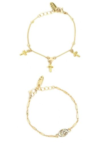 Cross and Coin Bracelet Set Gold