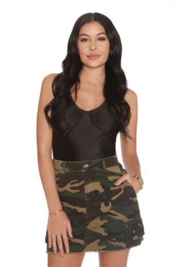 LA Sisters Mini Camouflage Skirt Front