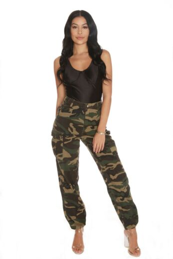 LA Sisters Camouflage Military Pants Front