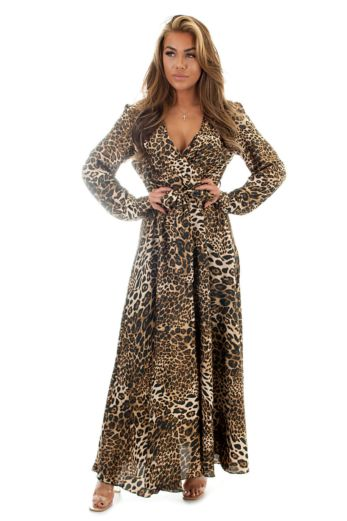 Eve Exclusive Venice Satin Dres Leopard Front