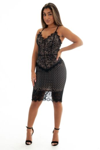 Eve Katy Lace Dress Long Black Front