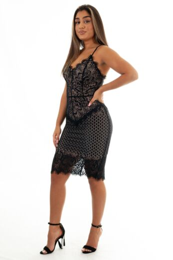 Katy Lace Dress Long Black