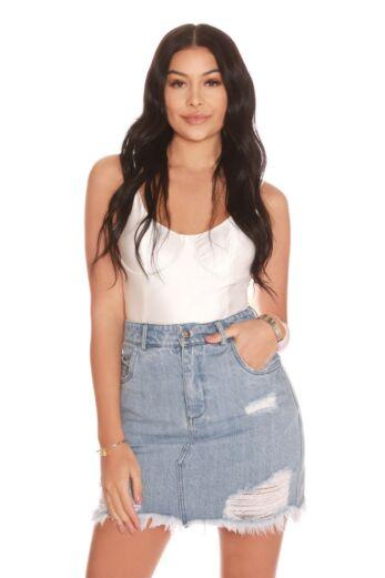 LA Sisters Mini Denim Skirt Front