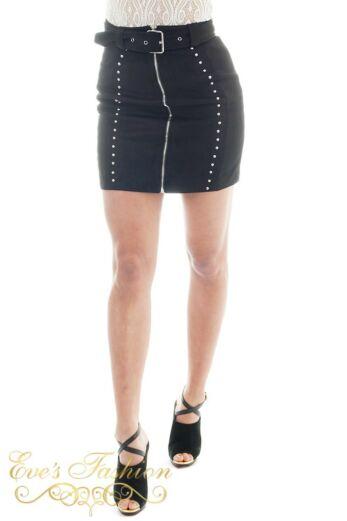 Eve Naomi Belted Skirt Studs Black Close Front