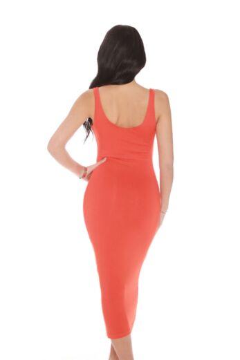 Basic Scoop Midi Dress Orange