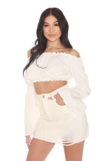 LA Sisters Mini Denim Skirt White Back
