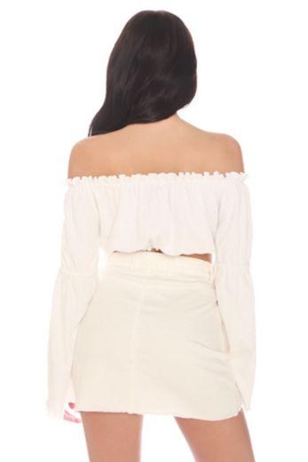 LA Sisters - Mini Denim Skirt White