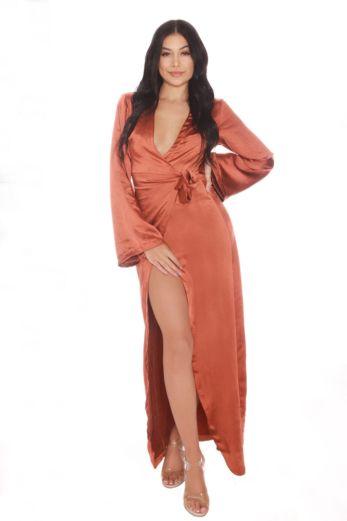 LA Sisters Satin Kimono Maxi Dress Front