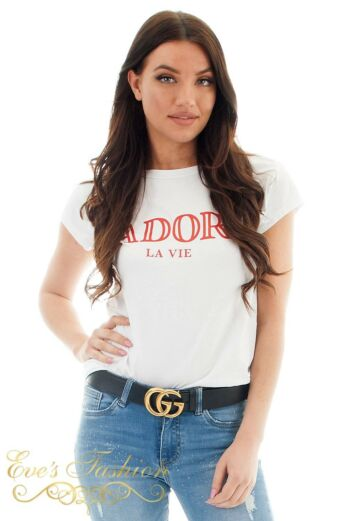 Eve  J'adore Tee White/Red Close Up