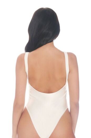 Satin Low Cut Swimsuit White