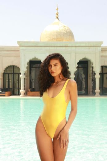 Satin Low Cut Swimsuit Yellow