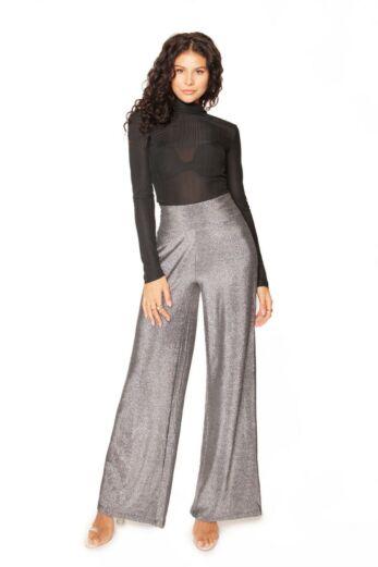 LA Sisters Glitter Wide Leg Trousers Silver Front
