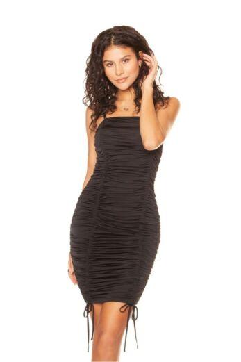 LA Sisters Strap Ruched Midi Dress Black Front