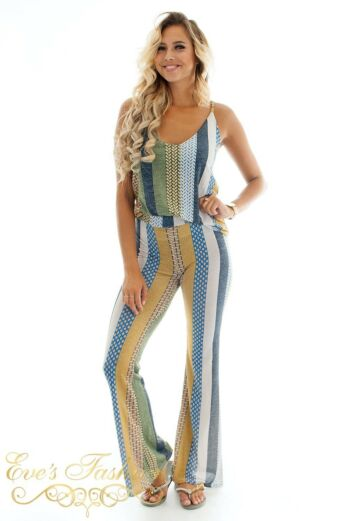 Eve Kristi Striped Suit Yellow/Green Front