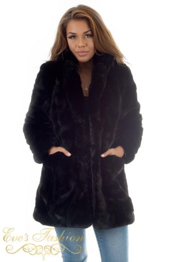 Eve Chloe Coat Black Close Up