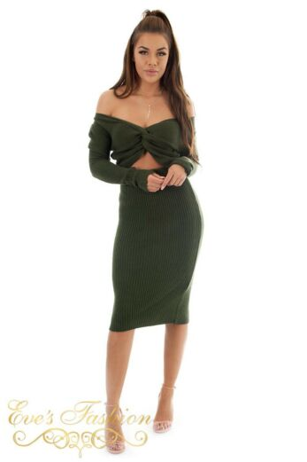 Jaimy Ribbed Two Piece Army Green