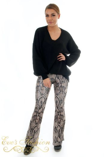 Flare Pants Snake Brown