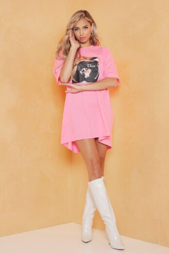 Eve Panther Tee Pink Front