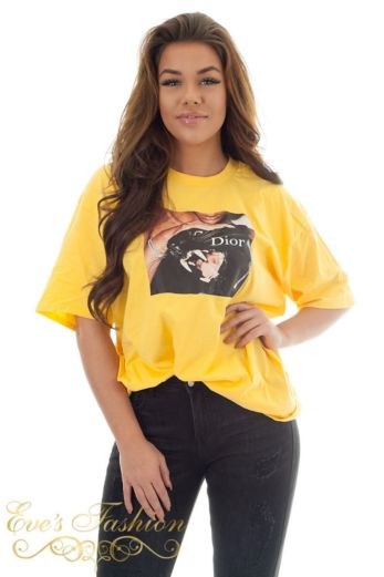 Eve Panther Dior Tee Yellow Close
