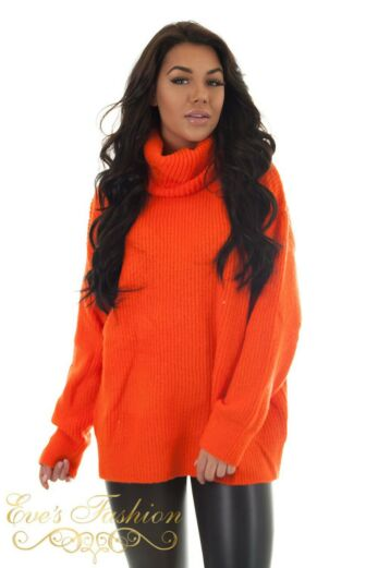 Amber Col Sweater Neon Orange
