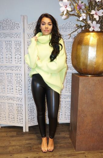 Amber Col Sweater Lime
