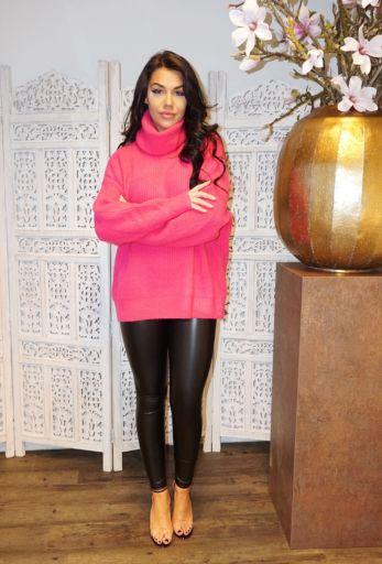 Amber Col Sweater Neon Fucshia