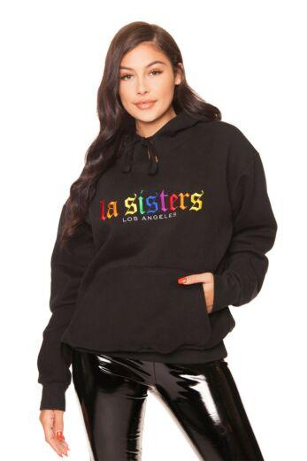 LA Sisters LA Logo Crewneck Sweater Black Front