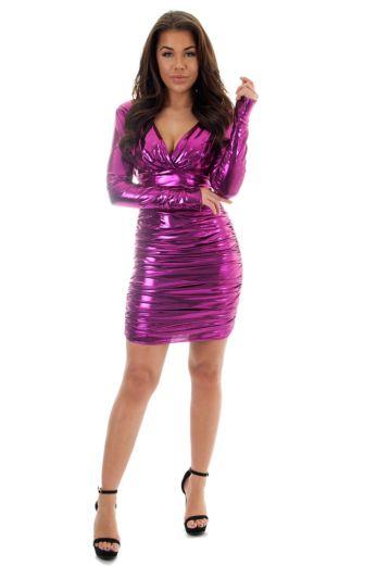 Vicky Metallic Dress Pink