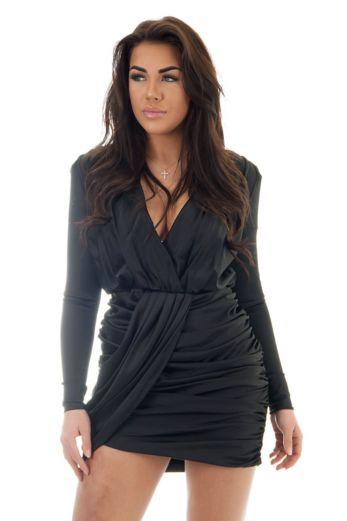 Naomi Satin Wrap Dress Black